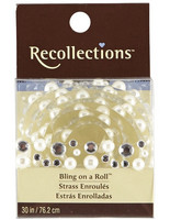 Recollections Bling on a Roll:  Mixed Clear Rhinestones & White Pearls