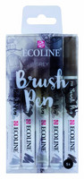 Ecoline Brush Pen x 5 : Grey - pakkaus