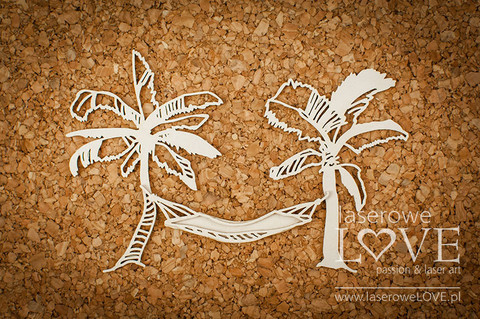 Vintage Tropical Island: Palm Trees with Hammock -chipboardpakkaus