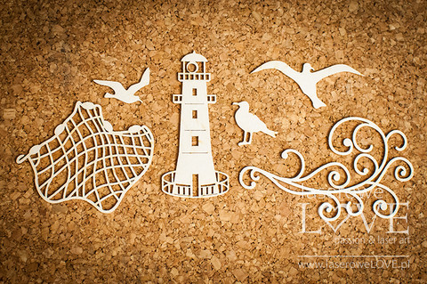 Di Mare:  Lighthouse & Fishing net  -chipboardpakkaus