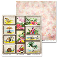 Vintage Tropical Island Pictures 12 x 12  - paperiarkki