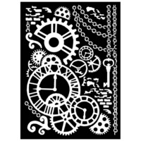 Mixed Media Thick Stencil 20 x 25 cm :  Steampunk Mechanism