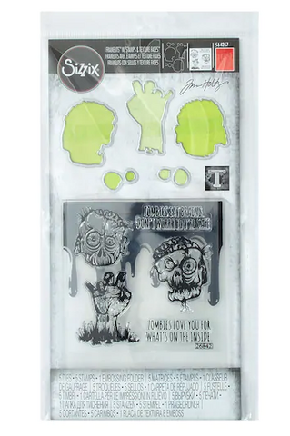 Tim Holtz Framelits with stamps & Texture Fades: Zombies