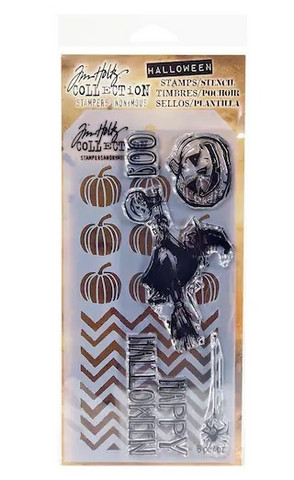 Tim Holtz stamps & stencil: Happy Halloween  -setti