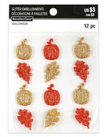 Halloween Glitter Embellishments: Pumpkins and Leaves