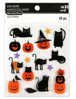 Halloween 3D Stickers: Cat & Pumpkin