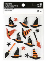 Halloween 3D Stickers: Witch Hats