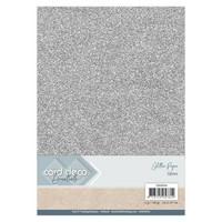 Card Deco Essentials Glitter Paper A4: Silver - glitterkartonkipakkaus