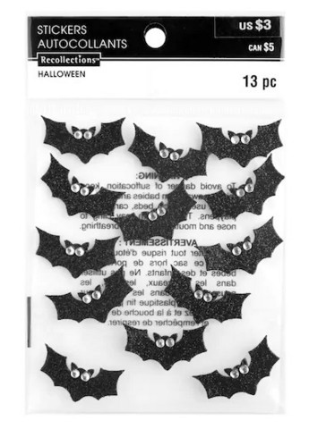 Recollections Halloween Glitter Stickers: Bats