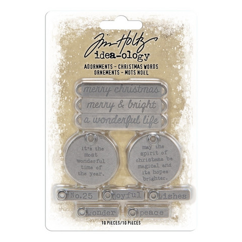 Tim Holtz Idea-ology Adornments: Christmas Words - metallikoristeet