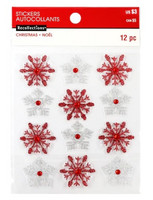 Christmas 3D Stickers: Red & Silver Snowflakes