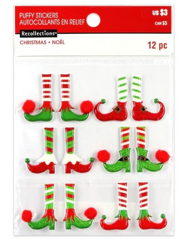 Recollections Christmas Puffy Stickers: Elf Feet