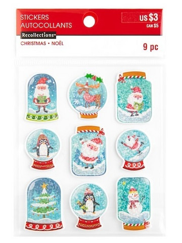 Recollections Christmas Puffy Stickers: Holographic Mason Jars