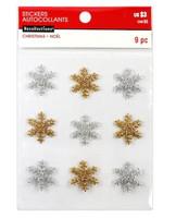 Christmas Glitter Embellishments: Silver & Gold Snowflakes