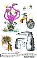 Flamingos & Friends A5 - unmounted leimasinsetti