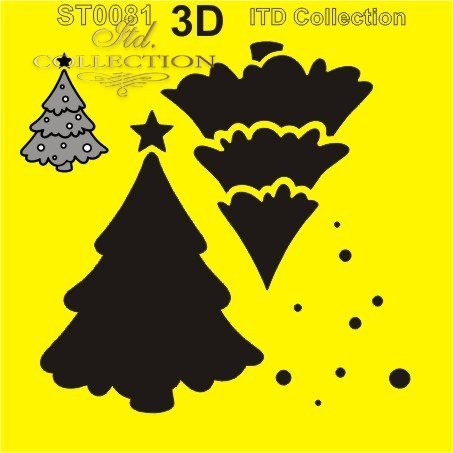 ITD Collection: Layered Christmas Tree #3  6x6   - sabluuna
