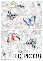 Printed Vellum A4: Roses & Butterflies