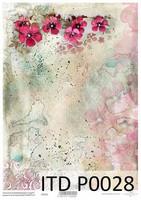 Printed Vellum A4: Fuchia Flowers