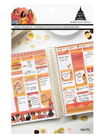 Capitol Chic Designs Weekly Sticker Kit: Red & Orange - tarrakirja