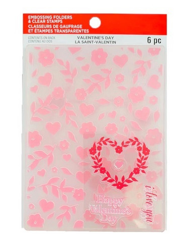 Recollections Valentine Clear Stamp & Embossing Folders 2020 : Hearts & Flowers  -setti