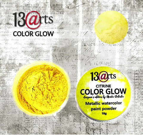 13arts Color Glow Metallic Watercolor: Citrine 10g - jauhevesiväri