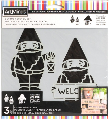 Artminds Outdoor Stencil Set: Gnomes  -sabluunapakkaus