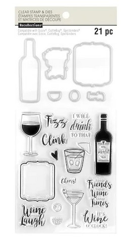 Recollections: Happy Hour Clear Stamp & Die Set