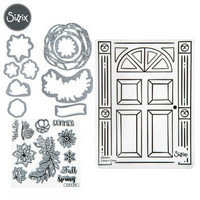 Sizzix Framelits with stamps & Texture Fades: Door Wreath