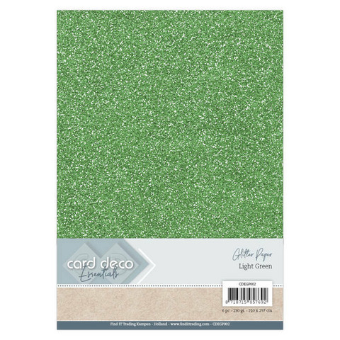 Card Deco Essentials Glitter Paper A4: Light Green - glitterkartonkipakkaus
