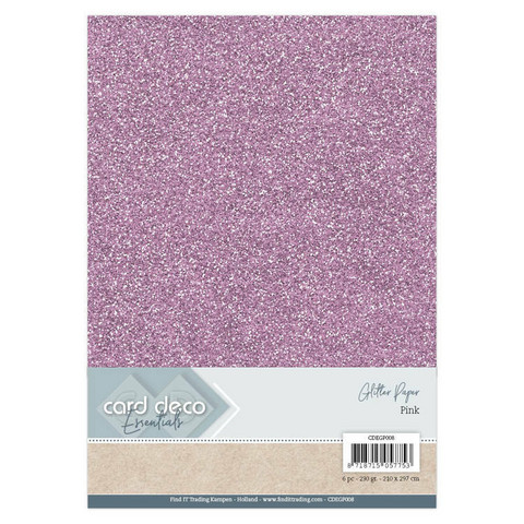 Card Deco Essentials Glitter Paper A4: Pink - glitterkartonkipakkaus