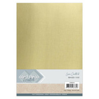 Card Deco Essentials Metallic Linen Cardstock A4: Gold - metallikartonkipakkaus