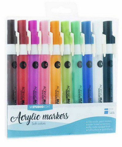 Studio Light Acrylic Markers: Soft Colors - maalikynät