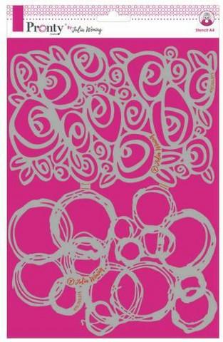 Pronty: Roses & Grunge Circles  A4 -sabluuna