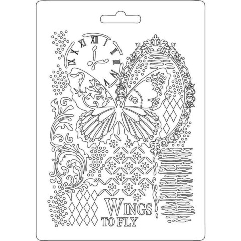 Stamperia Soft Mold A5: Butterfly & Manuscripts 1