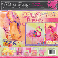Pink Ink Design: Elephants & Flamingos 12x12 kokoelma