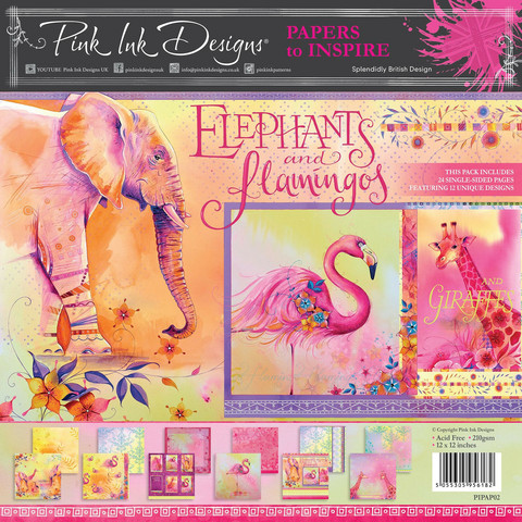 Pink Ink Design: Elephants & Flamingos 12x12 kokoelma