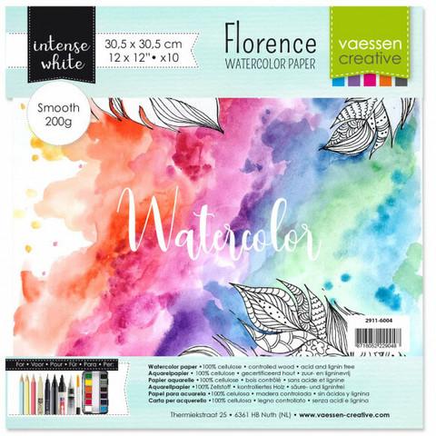 Vaessen Creative: Florence Smooth 200gsm akvarellipaperipakkaus 12x12 / 10 arkkia