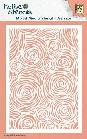 Nellies Choice Mixed Media A6 Stencil : Flowers -sabluuna