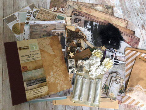 Nurkkaanajettu Vintage Junk Journal Workshop Kit - pakkaus