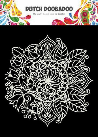 Dutch Doobadoo: Mandala with flower 15x15 cm -sabluuna