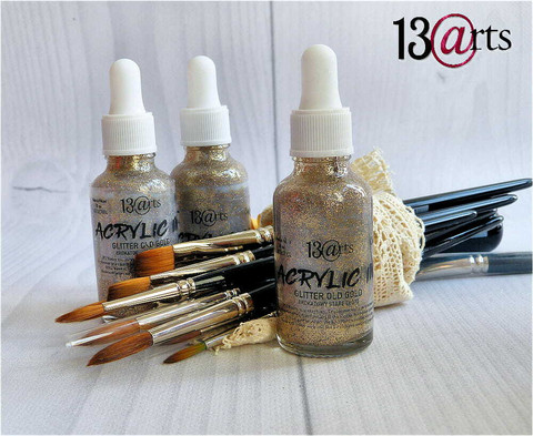 13arts Acrylic Ink: Glitter Old Gold 30 ml