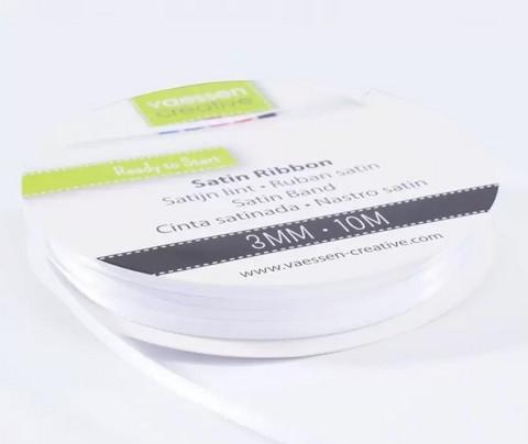 VC Satin Ribbon: White 3mm/ 10 m