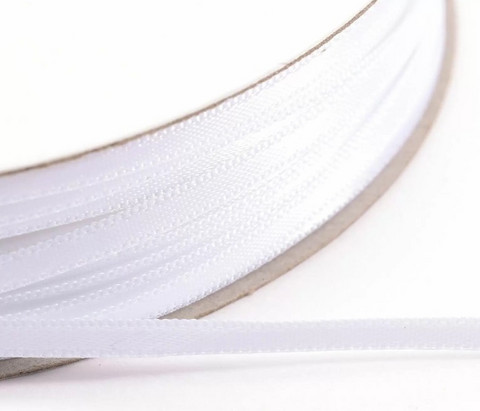 VC Satin Ribbon: White 3mm/ 100 m (säästörulla)