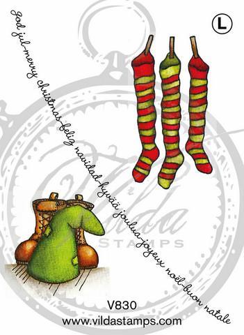 Vilda Stamps: Julstrumpor med tilbehör - leimasinsetti