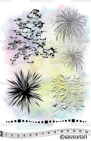 Katzelkraft: Background Nuage/ Fireworks  A5 - unmounted leimasinsetti