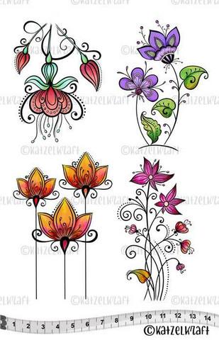 Katzelkraft: Flowers Doodle A5 - unmounted leimasinsetti