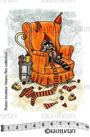 Katzelkraft: Veera Aro Knitting Racoon - unmounted leimasin