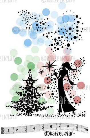 Katzelkraft: Lady Christmas A6 - unmounted leimasinsetti