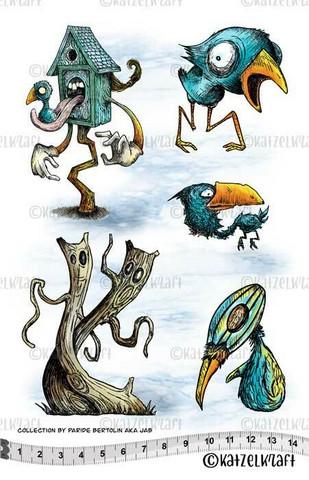 Katzelkraft: Les Oisals - Birds A5 - unmounted leimasinsetti