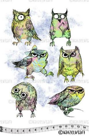 Katzelkraft: Les Super Chouettes  - Owls  A5 - unmounted leimasinsetti